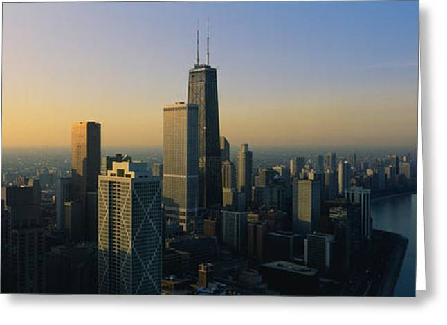 Locations Greeting Cards - Buildings At The Waterfront, Chicago Greeting Card by Panoramic Images