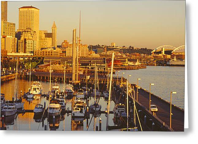 Sailboat Images Greeting Cards - Buildings At The Waterfront, Elliott Greeting Card by Panoramic Images