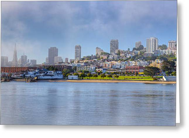 Fishermen Wharf Greeting Cards - Buildings At The Waterfront, Fishermans Greeting Card by Panoramic Images