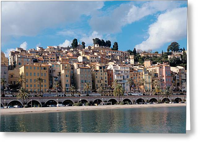 Buildings At The Waterfront, Menton Greeting Card by Panoramic Images