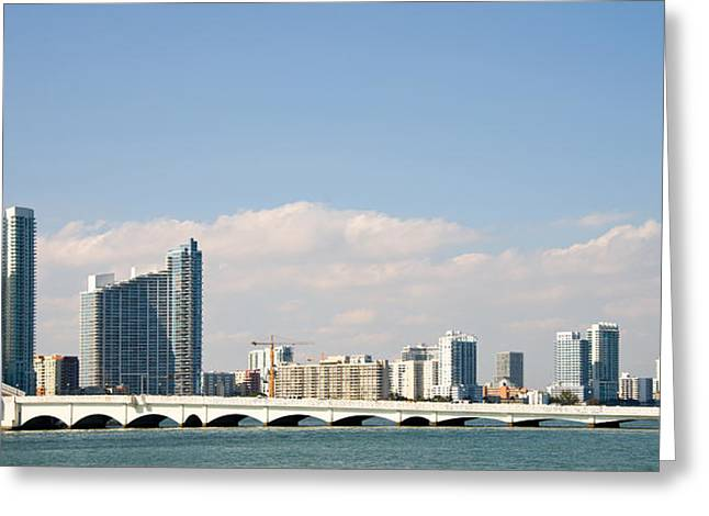 Florida Bridge Greeting Cards - Buildings At The Waterfront, Miami Greeting Card by Panoramic Images