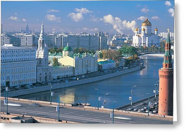 Commonwealth Of Independent States Greeting Cards - Buildings At The Waterfront, Moskva Greeting Card by Panoramic Images