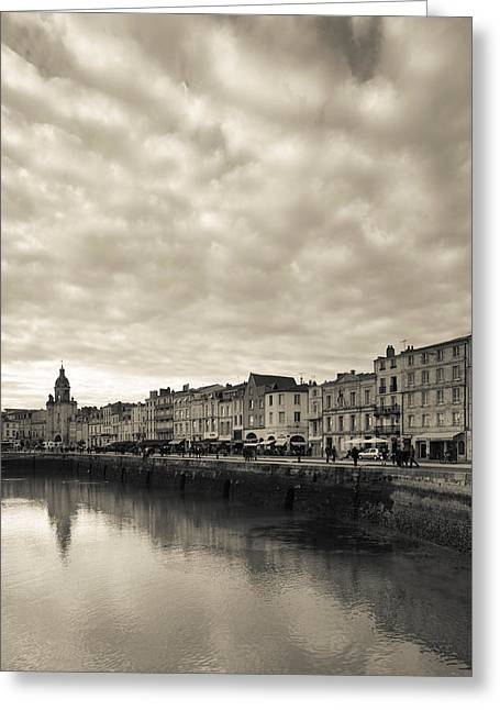 Overcast Day Greeting Cards - Buildings At The Waterfront, Old Port Greeting Card by Panoramic Images