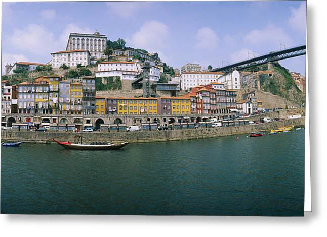 Sky Transportation Greeting Cards - Buildings At The Waterfront, Oporto Greeting Card by Panoramic Images