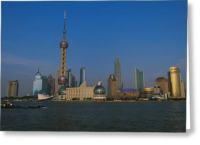 Communications Tower Greeting Cards - Buildings At The Waterfront, Oriental Greeting Card by Panoramic Images