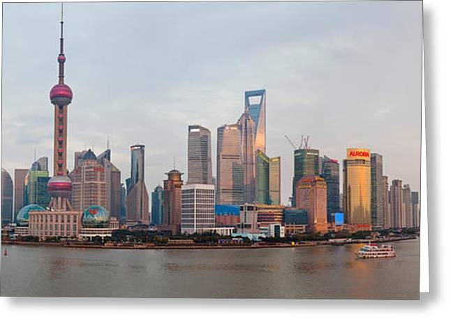 Pudong Greeting Cards - Buildings At The Waterfront, Pudong Greeting Card by Panoramic Images