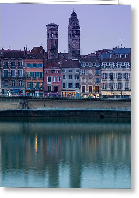 Burgundy Greeting Cards - Buildings At The Waterfront, Quai Jean Greeting Card by Panoramic Images