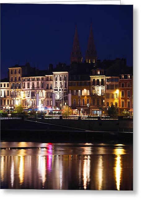 Burgundy Greeting Cards - Buildings At The Waterfront, Quai Greeting Card by Panoramic Images