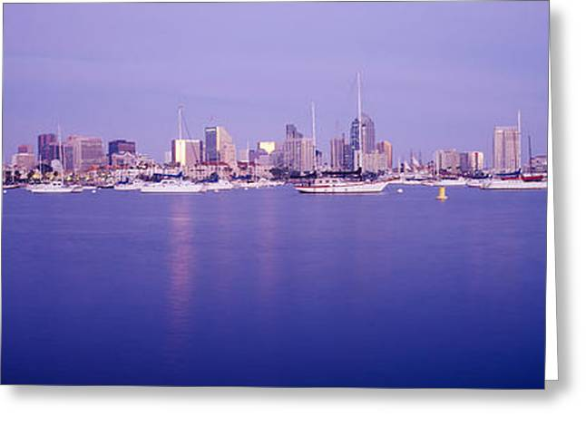 Nautical Vessel Greeting Cards - Buildings At The Waterfront, San Diego Greeting Card by Panoramic Images