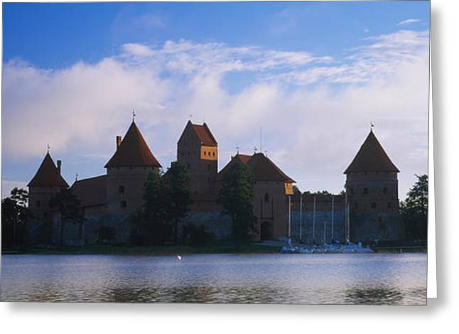 Lithuania Greeting Cards - Buildings At The Waterfront, Trakai Greeting Card by Panoramic Images