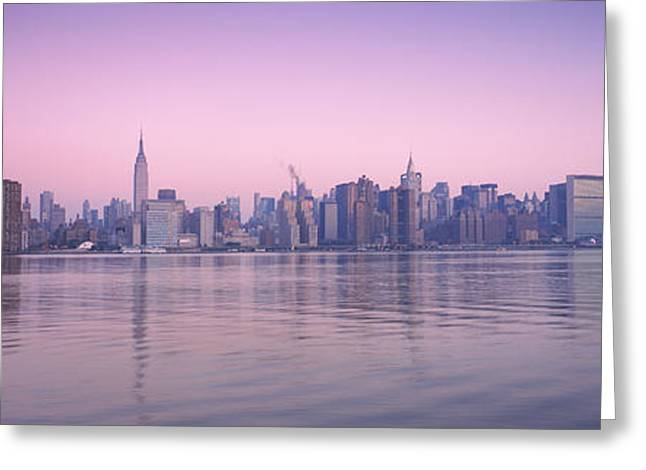 Midtown Greeting Cards - Buildings At The Waterfront Viewed Greeting Card by Panoramic Images