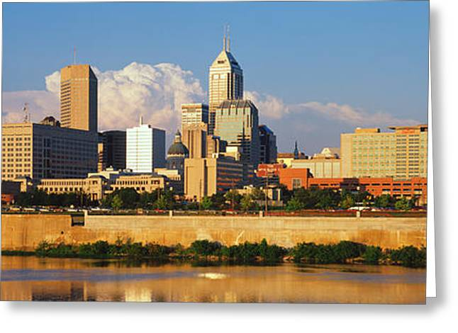 White River Scene Greeting Cards - Buildings At The Waterfront, White Greeting Card by Panoramic Images