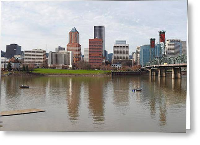 Willamette Greeting Cards - Buildings At The Waterfront, Willamette Greeting Card by Panoramic Images