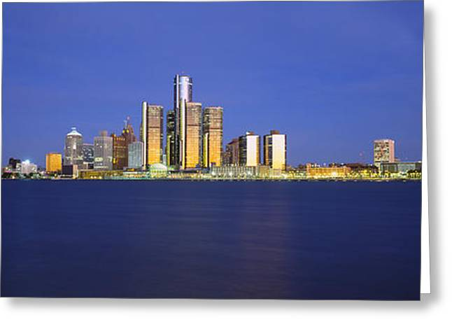 Detroit Photography Greeting Cards - Buildings At Waterfront, Detroit Greeting Card by Panoramic Images