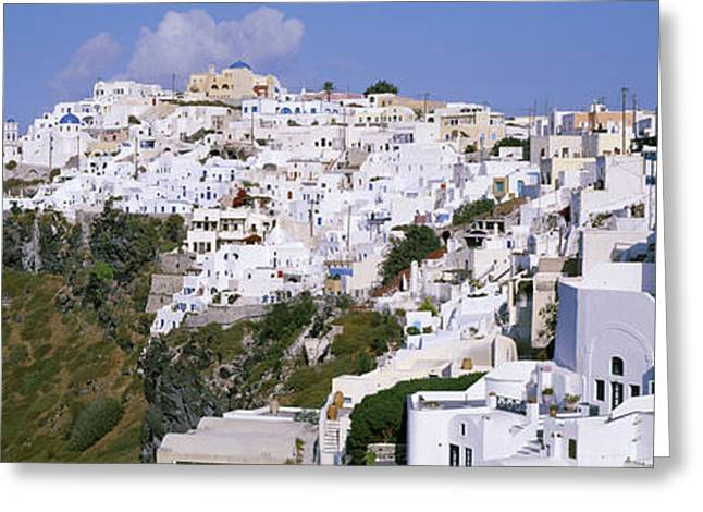 Faint Greeting Cards - Buildings, Houses, Fira, Santorini Greeting Card by Panoramic Images