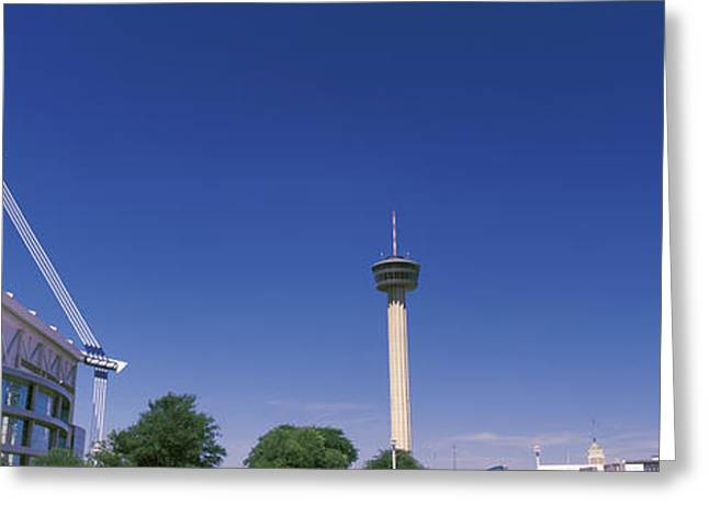 Communications Tower Greeting Cards - Buildings In A City, Alamodome, Tower Greeting Card by Panoramic Images