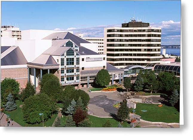 Alaska Scene Greeting Cards - Buildings In A City, Alaska Center Greeting Card by Panoramic Images