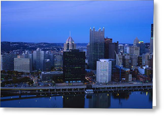 Monongahela River Greeting Cards - Buildings In A City At Dusk Greeting Card by Panoramic Images