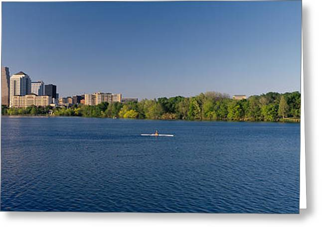 Boats In Water Greeting Cards - Buildings In A City, Austin, Texas, Usa Greeting Card by Panoramic Images