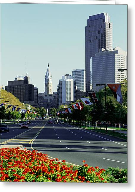Town Of Franklin Greeting Cards - Buildings In A City, Benjamin Franklin Greeting Card by Panoramic Images