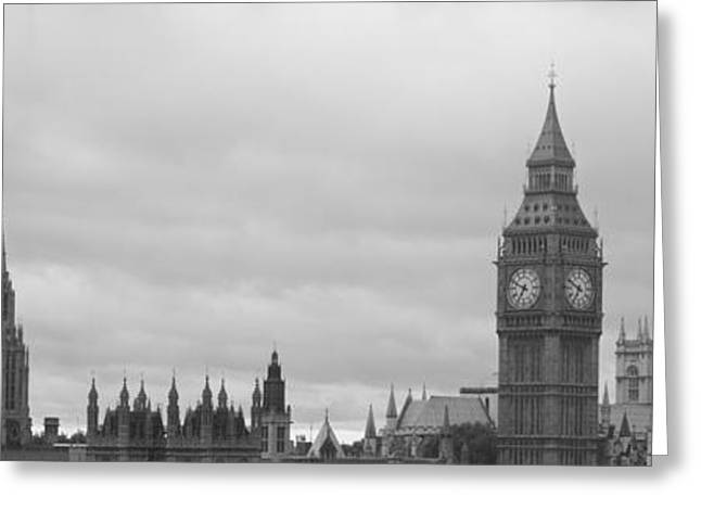 London Structure Greeting Cards - Buildings In A City, Big Ben, Houses Of Greeting Card by Panoramic Images