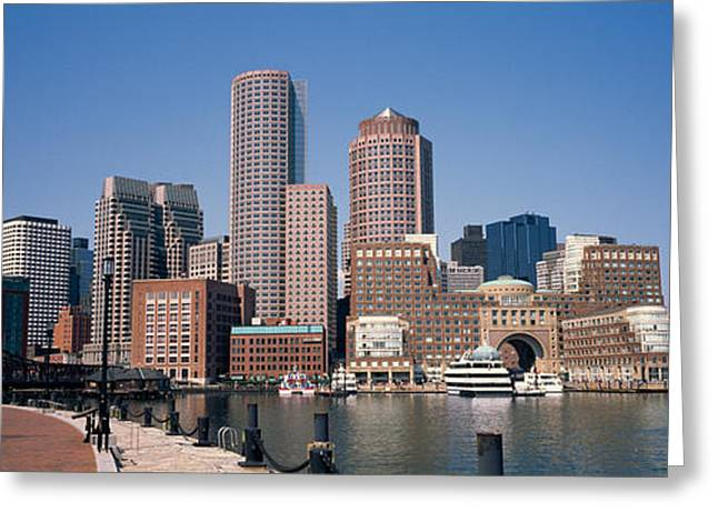 Urban Images Greeting Cards - Buildings In A City, Boston, Suffolk Greeting Card by Panoramic Images