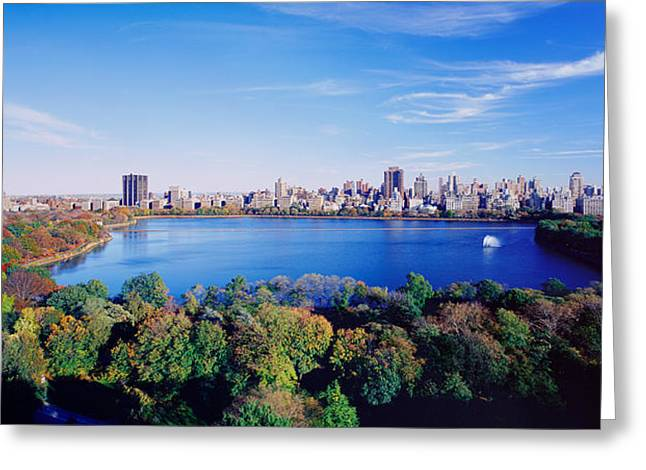 Financial Greeting Cards - Buildings In A City, Central Park Greeting Card by Panoramic Images
