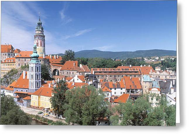Bohemia Greeting Cards - Buildings In A City, Cesky Krumlov Greeting Card by Panoramic Images