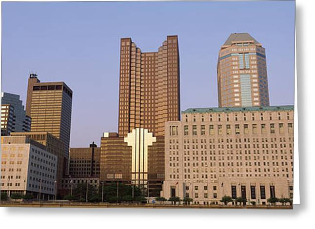 Downtown Franklin Greeting Cards - Buildings In A City, Columbus, Franklin Greeting Card by Panoramic Images
