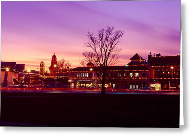 Clock Greeting Cards - Buildings In A City, Country Club Greeting Card by Panoramic Images