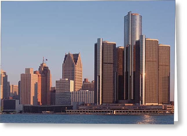 Detroit Photography Greeting Cards - Buildings In A City, Detroit, Michigan Greeting Card by Panoramic Images
