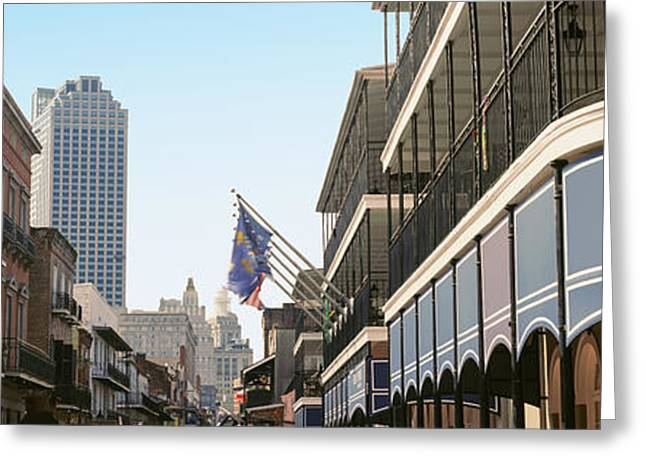 Bourbon Street Greeting Cards - Buildings In A City, Four Points By Greeting Card by Panoramic Images