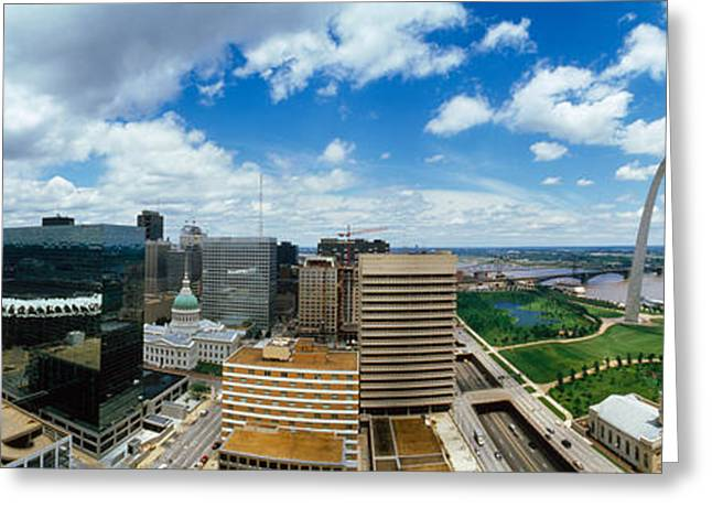 Mississippi River Scene Greeting Cards - Buildings In A City, Gateway Arch, St Greeting Card by Panoramic Images