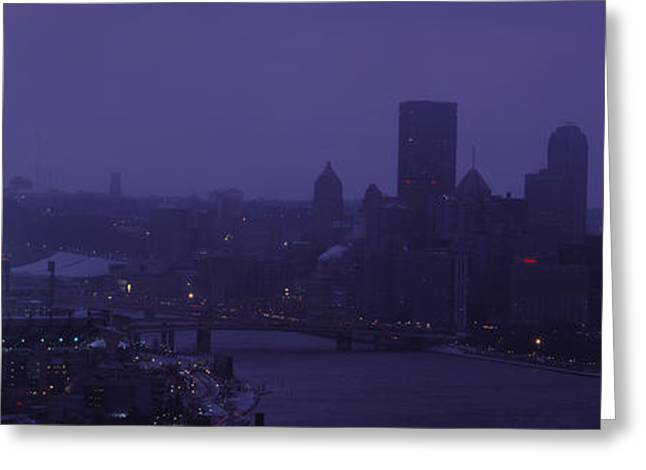 Locations Greeting Cards - Buildings In A City, Heinz Field, Three Greeting Card by Panoramic Images