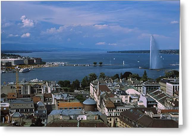 Lake Geneva Greeting Cards - Buildings In A City, Lake Geneva Greeting Card by Panoramic Images