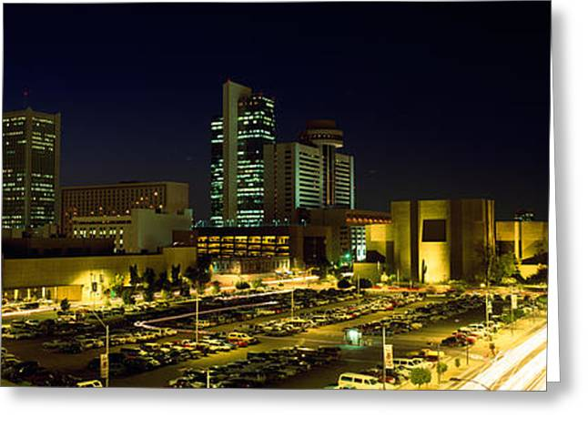 Phoenix Architecture Greeting Cards - Buildings In A City Lit Up At Night Greeting Card by Panoramic Images