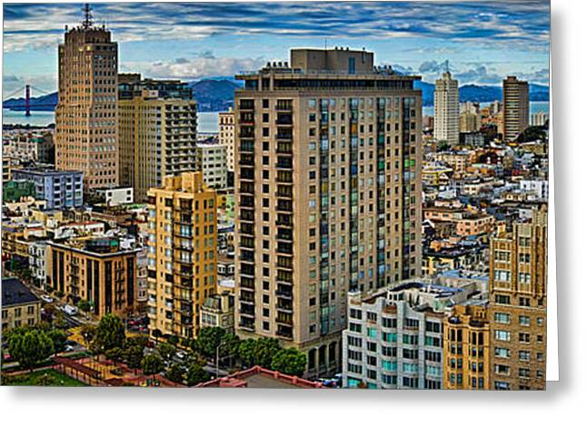 Height Greeting Cards - Buildings In A City Looking Greeting Card by Panoramic Images