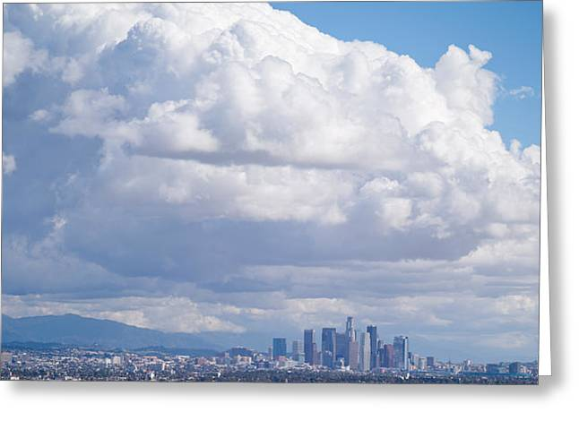 Overcast Day Greeting Cards - Buildings In A City, Los Angeles Greeting Card by Panoramic Images