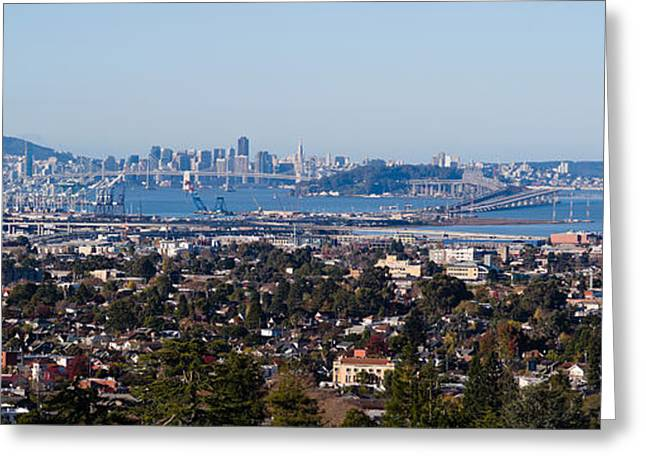 California Ocean Photography Greeting Cards - Buildings In A City, Oakland, San Greeting Card by Panoramic Images