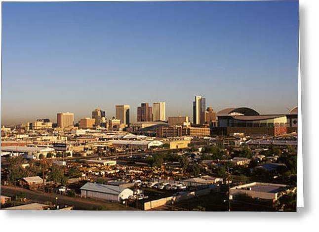 Phoenix Architecture Greeting Cards - Buildings In A City, Phoenix, Arizona Greeting Card by Panoramic Images