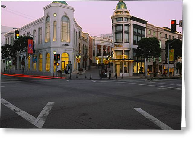 Stoplight Greeting Cards - Buildings In A City, Rodeo Drive Greeting Card by Panoramic Images