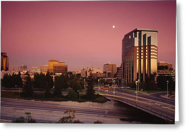 Building Exterior Photographs Greeting Cards - Buildings In A City, Sacramento Greeting Card by Panoramic Images