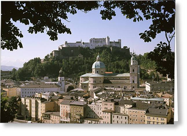 Salzburg Greeting Cards - Buildings In A City, Salzburg, Austria Greeting Card by Panoramic Images