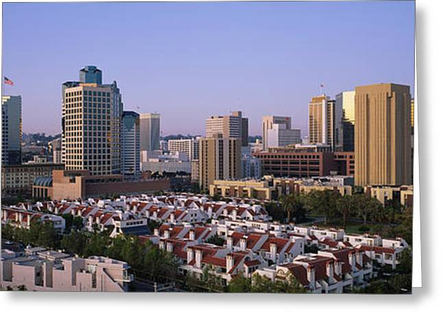 American Flag Photography Greeting Cards - Buildings In A City, San Diego Greeting Card by Panoramic Images