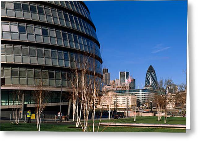 Bare Trees Greeting Cards - Buildings In A City, Sir Norman Foster Greeting Card by Panoramic Images