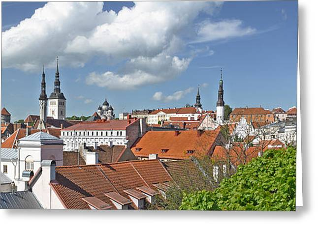 Estonia Greeting Cards - Buildings In A City, St Olafs Church Greeting Card by Panoramic Images