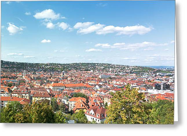 Stuttgart Greeting Cards - Buildings In A City, Stuttgart Greeting Card by Panoramic Images