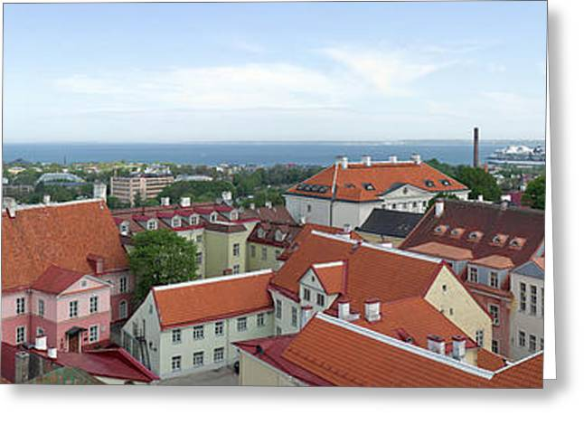 Estonia Greeting Cards - Buildings In A City, Tallinn, Estonia Greeting Card by Panoramic Images