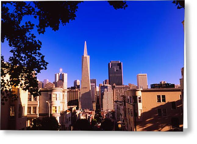 Financial District San Francisco Greeting Cards - Buildings In A City, Telegraph Hill Greeting Card by Panoramic Images