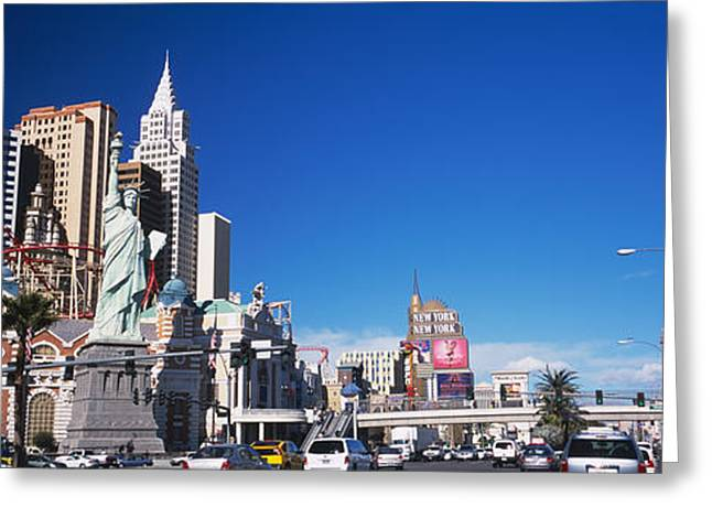 The Strip Greeting Cards - Buildings In A City, The Strip, Las Greeting Card by Panoramic Images